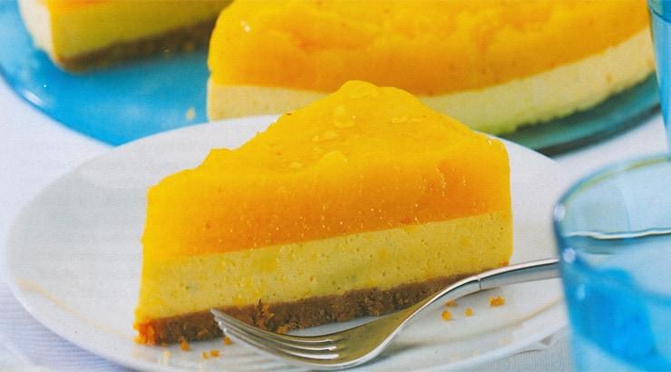 Jamaican mango cheesecake slice