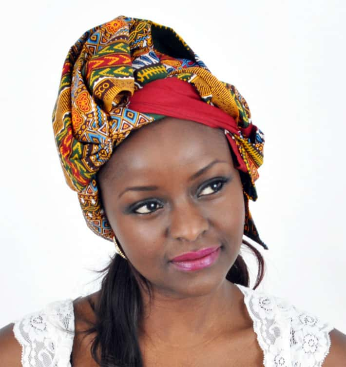 Red Dashiki African head wrap