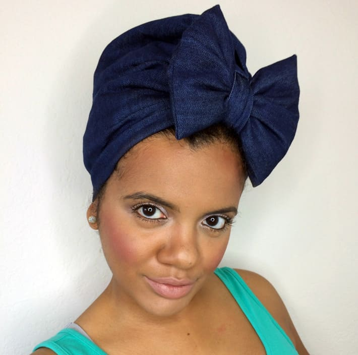 Discounted denim head scarf