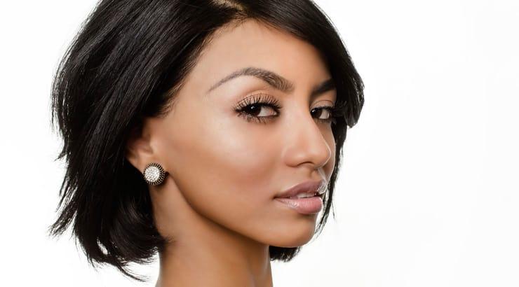 Straightened short hair on light skinned black woman