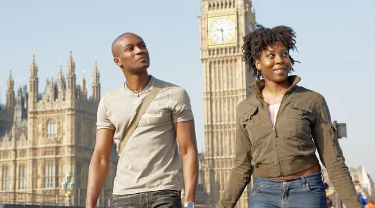 Man and woman in a relationship traveling together