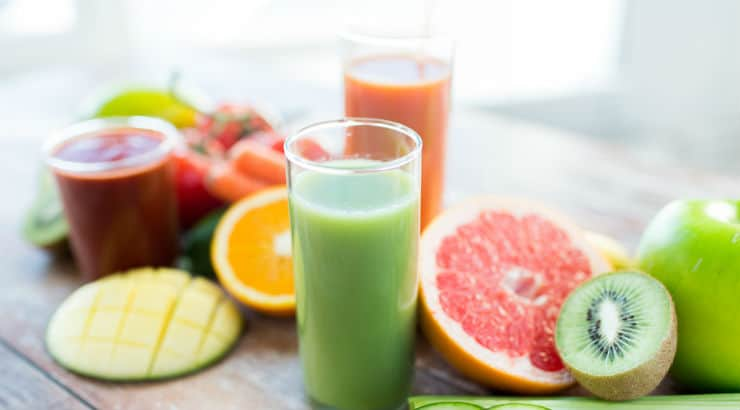 Fruits vegetables and smoothies