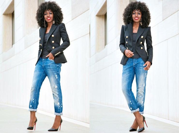 Female black fashion blogger style pantry