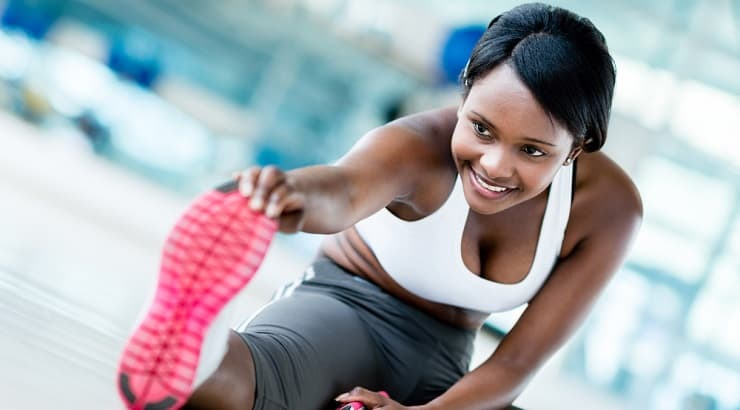Black woman stretching