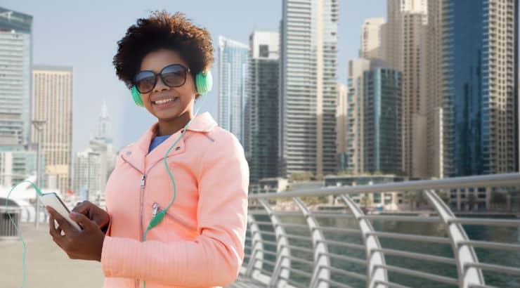 Black Woman Near Dubai Skyline