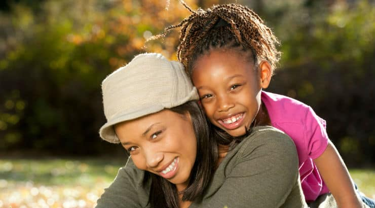 Black woman with her daughter