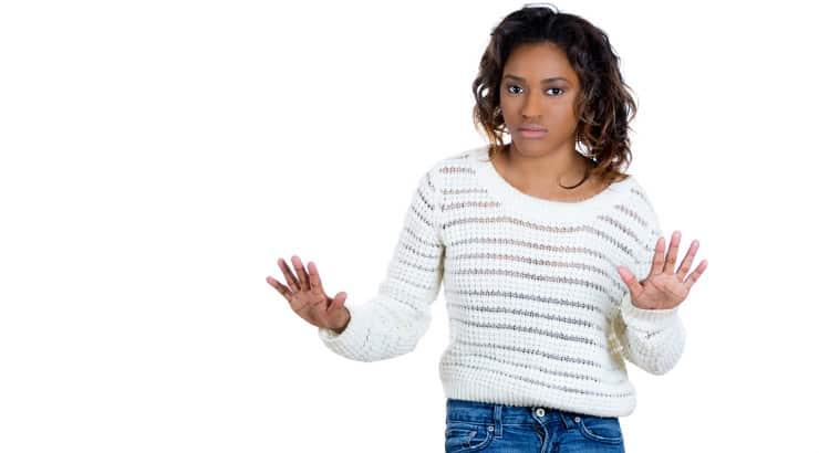 A black woman sulking