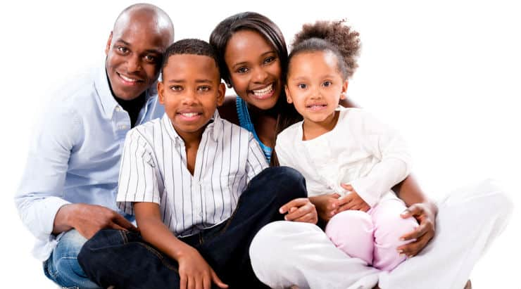 A happy African American family enjoying life