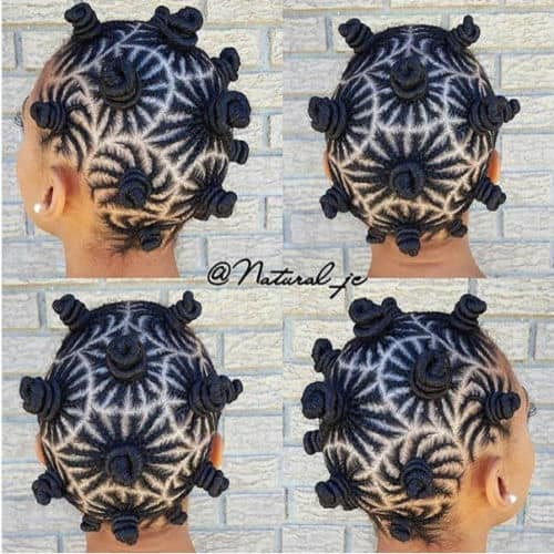 Bantu knots protective style with 4b hair