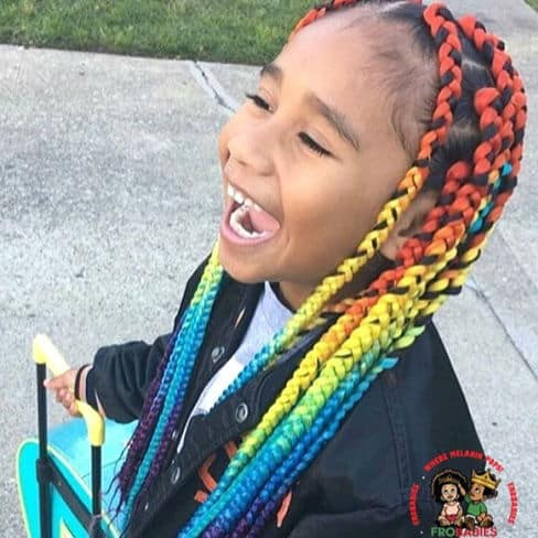 Natural 4c rainbow braids protective style