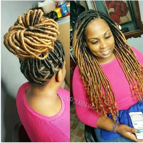 Curl goddess locs protective style