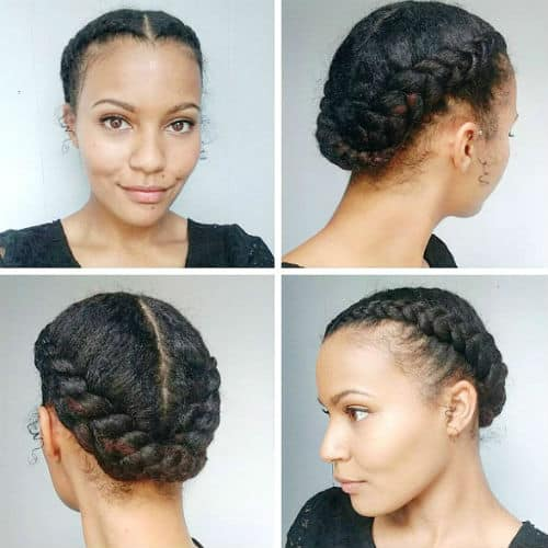 Braided crown natural protective style for black women