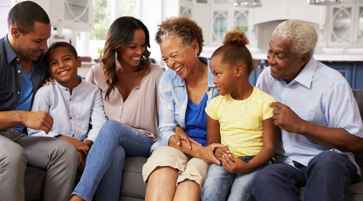 A happy extended African American family
