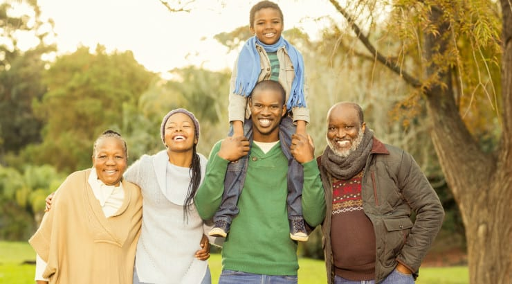 An African American extended family enjoying the outdoors