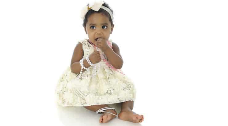 A teething baby girl