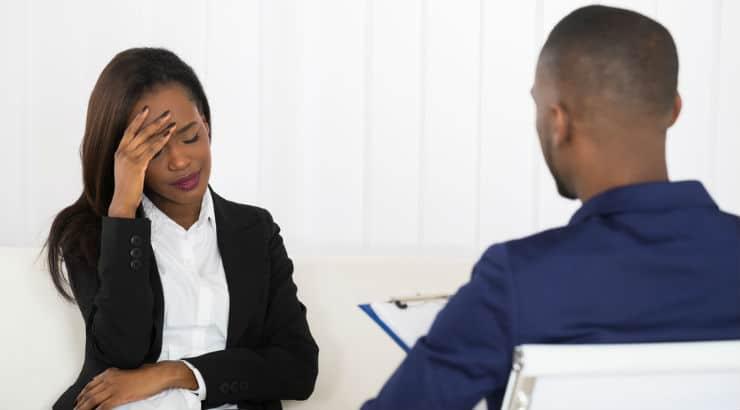 Black Woman Patient Visiting Psychologist