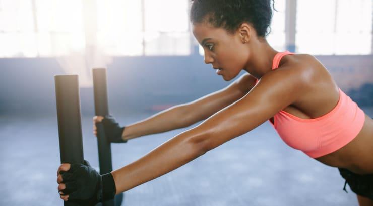 Strengthening her body through Yoga moves