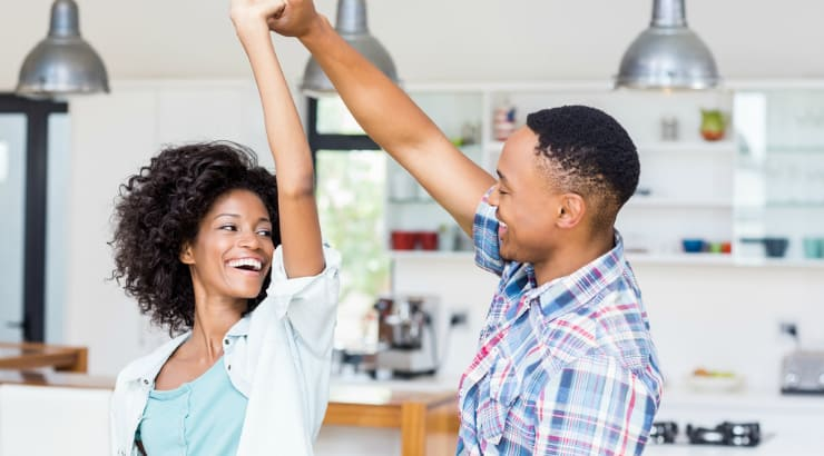 African American couple in a rented holiday apartment