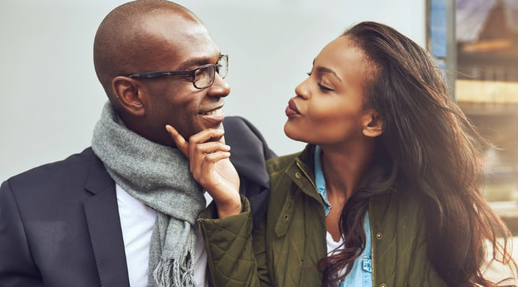 An African American lady flirting