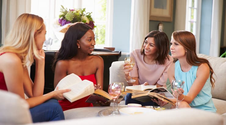 A book club meeting with multiethnic women