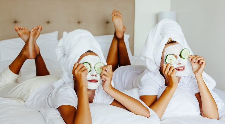 An Image of Face Masks and Spa Time in Bed
