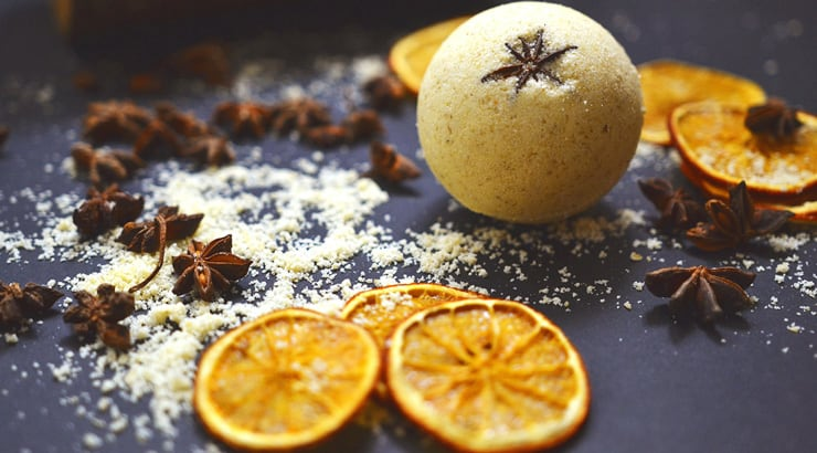 Bath bombs with oranges and star anise