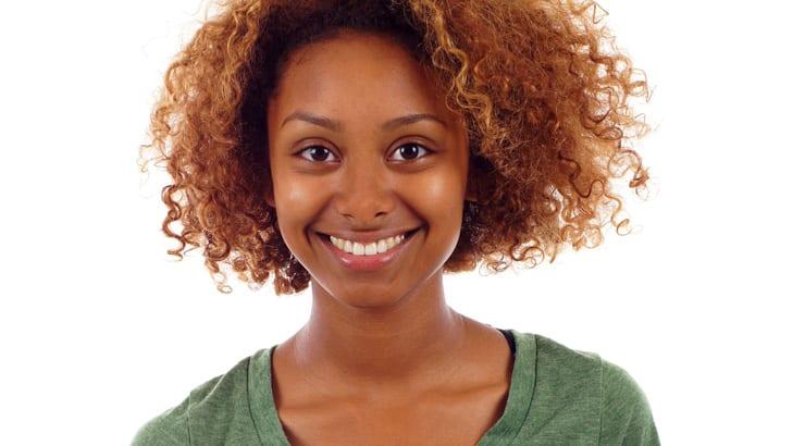 Medium Skin Shade Toned Black Woman Curly Hair