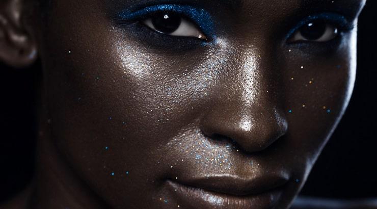 Glamor Shot of Cacao Dark Skinned Black Woman