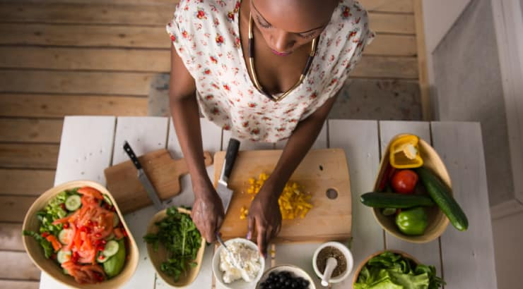 African Woman Prepares Her Meals in Advance