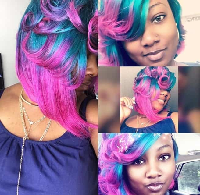 Blue and pink quick weave