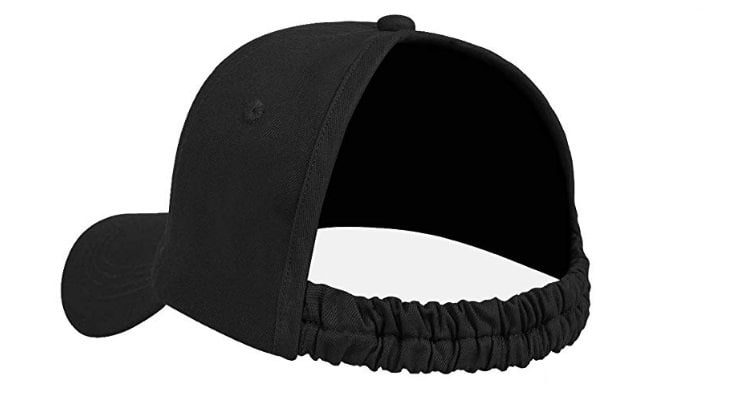 Backless baseball caps are a twist on the classic cap for natural hair women.