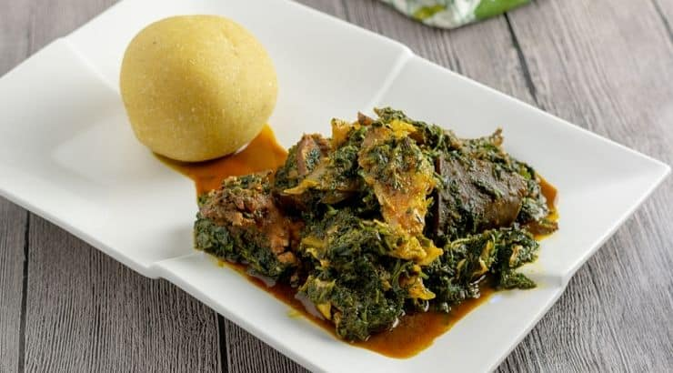 Afang soup is made from West African afang leaves and has beef, dry fish, and other popular Nigerian ingredients.