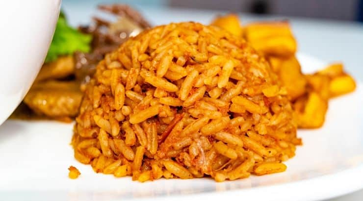 Traditional Nigerian Dishes include jollof rice.