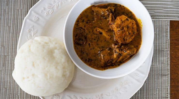 Ogbono seeds are the basis of Ogbono soup, a dish that can be prepared for meat eaters, vegetarians, or vegans.