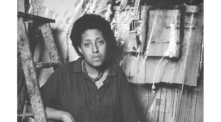 Howardena Pindell is a black female artists with an emphasis on abstract work.