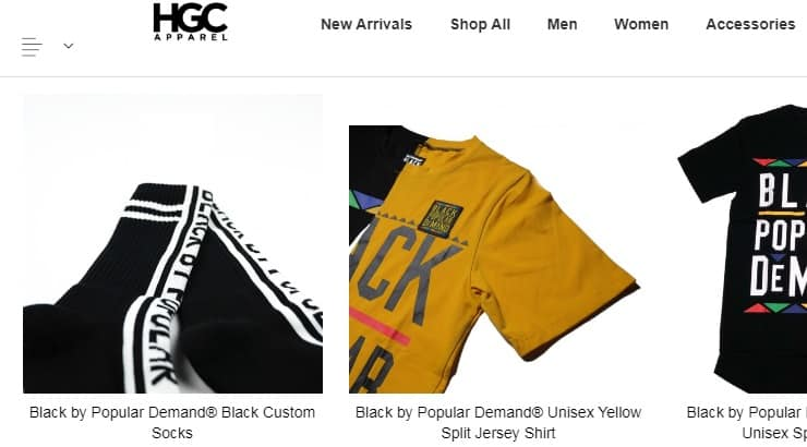 """HGC is a popular internet brand known for their """"Black by Popular Demand"""" Shirt."""