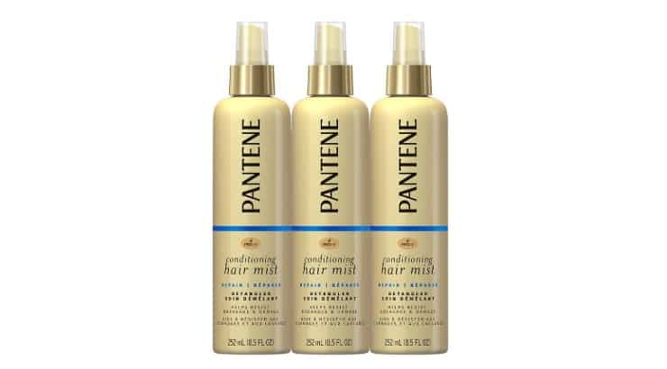 Pantene's detangler is a product that also helps with breakage and split ends.