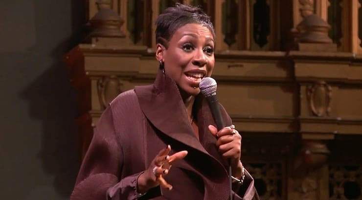 "Gina Yashere is a black comedian from London who's stand up performance ""Laughing to America"" is available on Netflix."