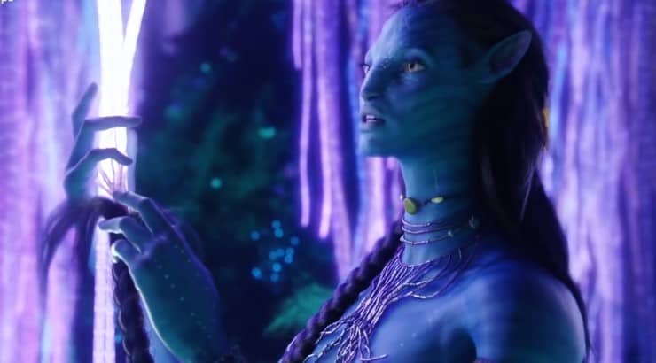 "Zoe Saldana put on tons of makeup and prosthetics to get into character for the 2009 film ""Avatar."""