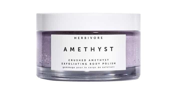 Herbivore's popular exfoliator includes amethyst crystals alongside essential oils.