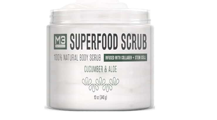 M3 Naturals Superfood Scrub includes salt to scrub the skin but also aloe vera to help soothe it afterwards.