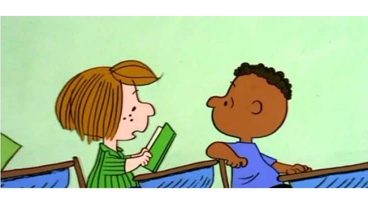 "Franklin is the first African American character to appear on the comic strip, ""Peanuts."""