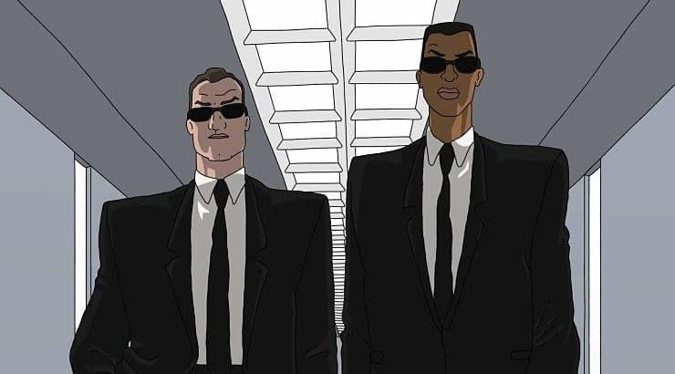 "J is one of the duo who star in the animated series ""Men in Black."""