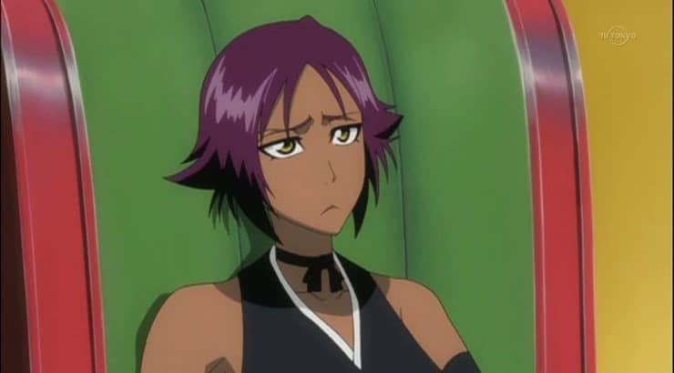 "Yoruichi Shihouin is a black character that is featured in the anime series ""Bleach."""