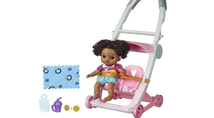 Baby Alives Little is a small baby doll that comes in a stroller and moves as you push it.