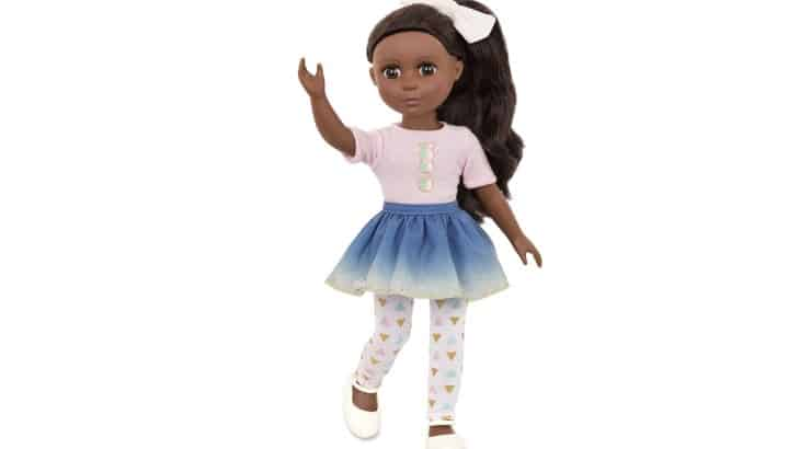 Glitter Girls Dolls created a black doll with long, straight hair and the ability to strike different poses.