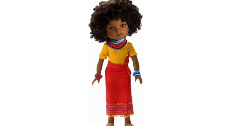 Rahel is an Ethiopian doll from Hearts For Hearts that has brown eyes and a curly afro.