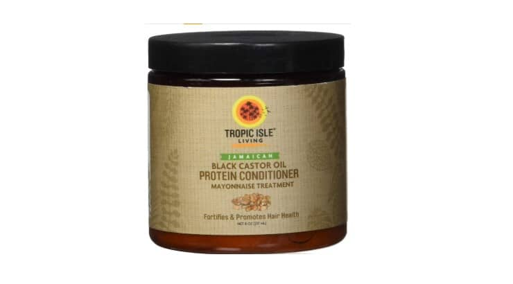 Tropic Isle Living Protein Conditioner is infused with avocado, almond, jojoba, and grapeseed oils.