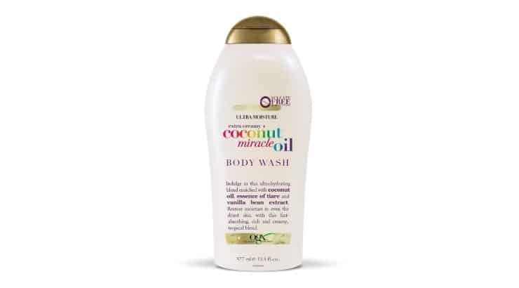 OGX Extra Creamy Body Wash contains coconut oil, a great ingredient for moisturizing the skin.