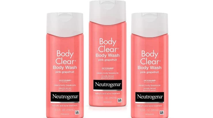 The Neutrogena Body Clear Body Wash contains salicylic acid which is an acne-fighting ingredient.